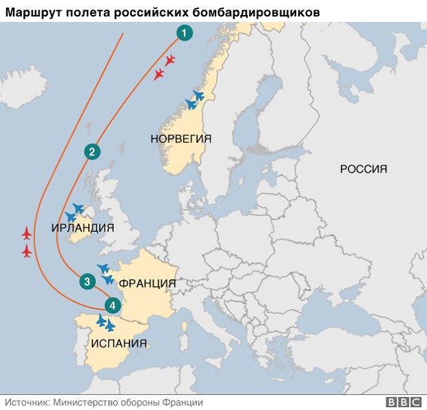 Российские бомбардировщики всполошили Европу полетом отНорвегии доИспании