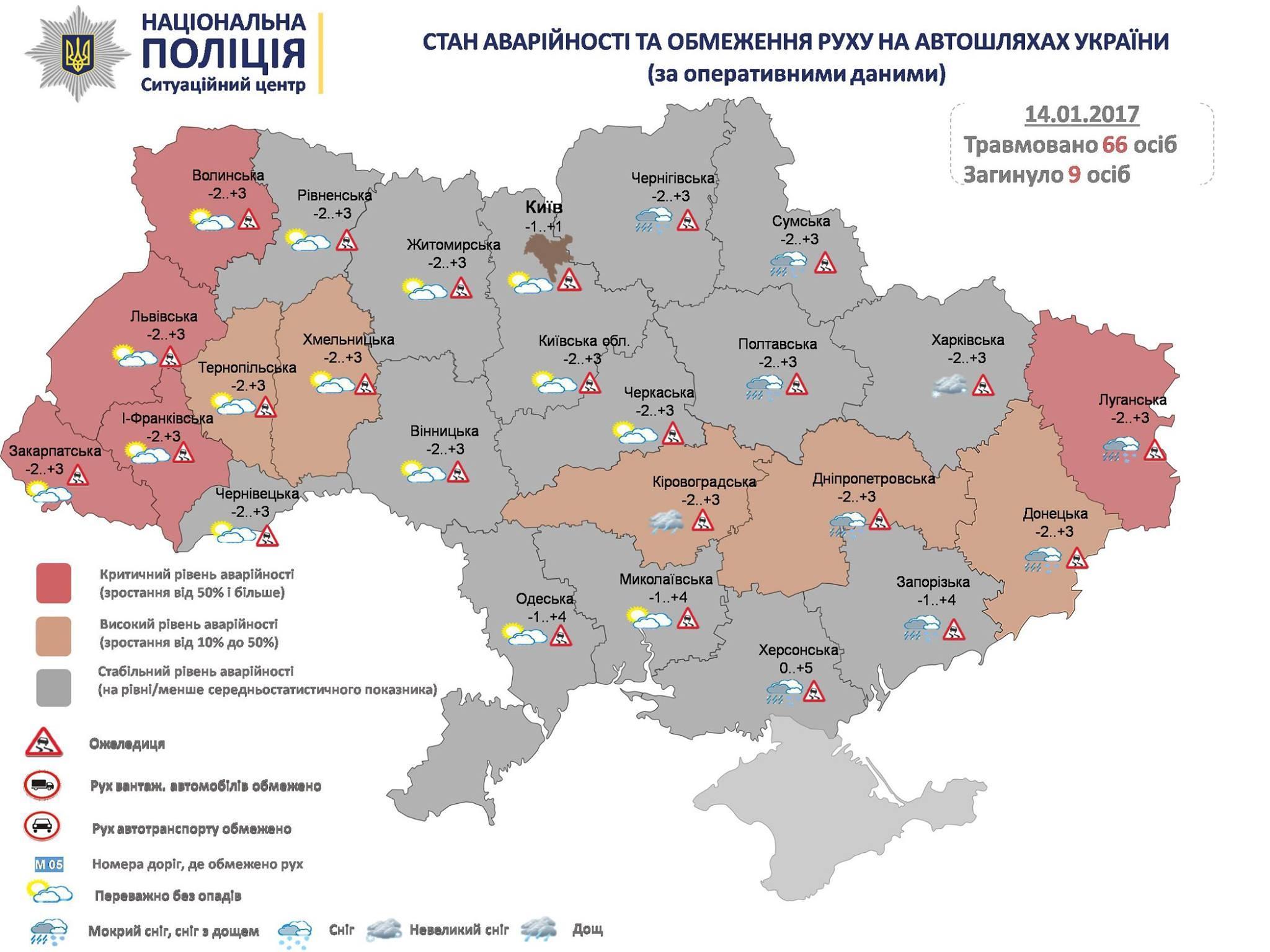 На трассах Украины засутки из-за снежной непогоды погибли шесть человек