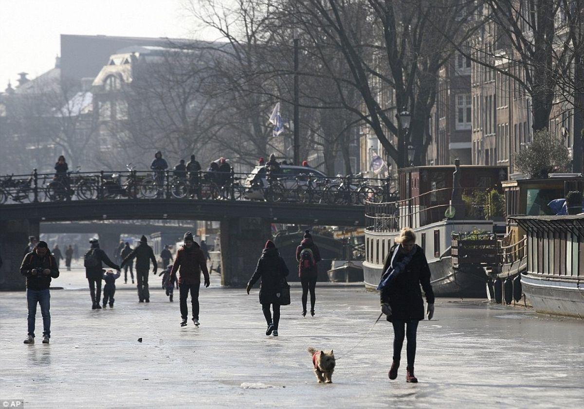 Вставай наконьки. ВАмстердаме впервый раз за множество лет замерзли каналы