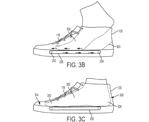 Конвейер, затягивающий ногу вкроссовок— Патентная претензия Nike